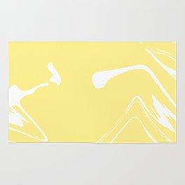 Yellow With White Liquid Paint Rug
