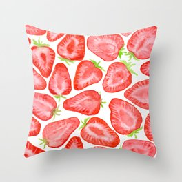 Watercolor strawberry slices pattern Throw Pillow