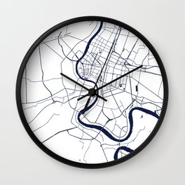 Bangkok Thailand Minimal Street Map - Navy Blue and White Wall Clock