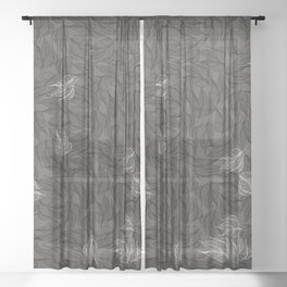 Leaves in monochrome Sheer Curtain