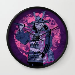 Samurai Kitty Wall Clock