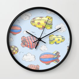 Hand drawn vector vintage seamless pattern with cute little airchips with strips, stars, dots and sq Wall Clock