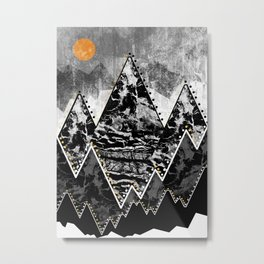 The small sun over the grey mountains Metal Print