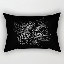 Floral Arrangement - White on Black Rectangular Pillow