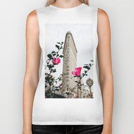Pink Flowers in New York City (Color) Biker Tank
