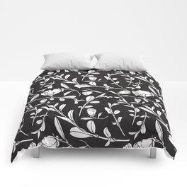 Black & White Camellia Pattern Comforters