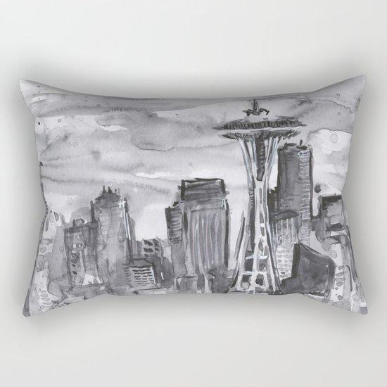 Seattle Skyline Watercolor Space Needle Washington PNW Rectangular Pillow