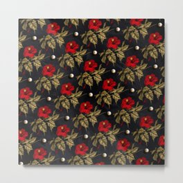 Red and Gold Hibiscus with Pearls Pattern Metal Print