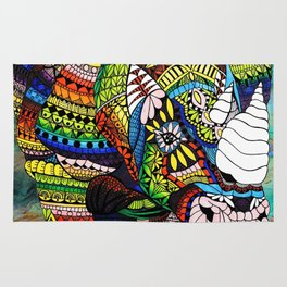 Rainbow Rhino Negative Background Rug