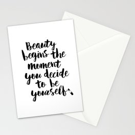Beauty Begins the Moment You Decide to Be Yourself black and white typography poster home wall decor Stationery Cards