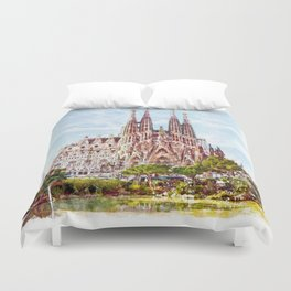 La Sagrada Familia watercolor Duvet Cover