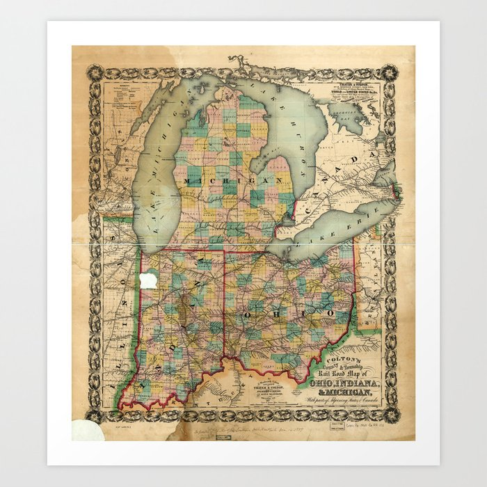 Map of Ohio, Indiana & Michigan (1859) Art Print by thearts | Society6