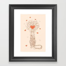 zen cat with flower and heart Framed Art Print