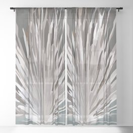Ancient Ash Tree Green Background Sheer Curtain
