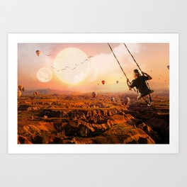 Swinging with Balloons by GEN Z Art Print