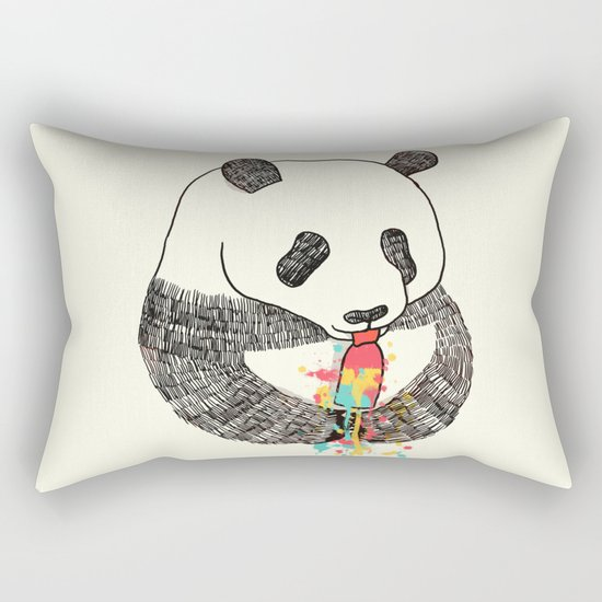 Panda Loves Ice Cream Rectangular Pillow