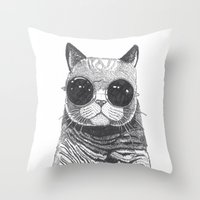 anaconda Throw Pillows featuring cool cat by Polkip