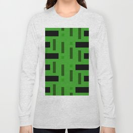 Pattern of Squares in deep Green Long Sleeve T-shirt