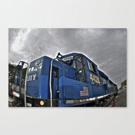 Cloudy day train Canvas Print