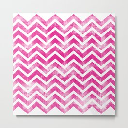 Maritime Pink White Chevron Herringbone ZigZag - Mix & Match Metal Print