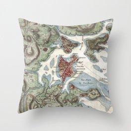 Vintage Map of Boston Harbor (1807) Throw Pillow