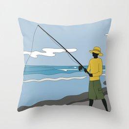 Beach Fishing#3 Throw Pillow