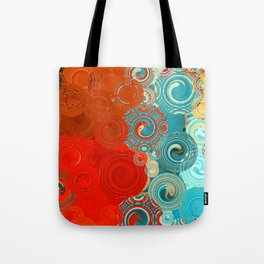 Red and Turquoise Swirls Tote Bag