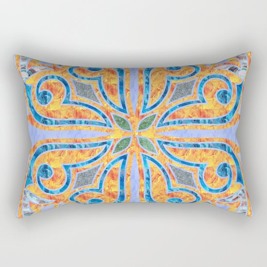 Blue Oriental Tile 02 Rectangular Pillow