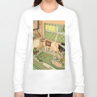 bath Long Sleeve T-shirts featuring Bath by oculus-feline