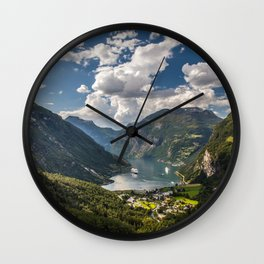 Geiranger Fjord Norway Mountains Wall Clock