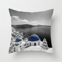 Santorini Blues Throw Pillow