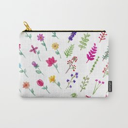 Set of Watercolor Floral Collection Carry-All Pouch