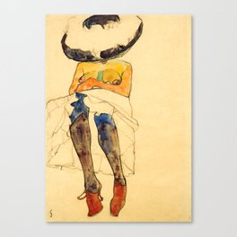 """Egon Schiele """"Seated semi-nude with hat and purple stockings"""" Canvas Print"""
