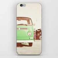 volkswagon iPhone & iPod Skins featuring Vintage Volkswagen Bus (Green Edition) by Laura Ruth