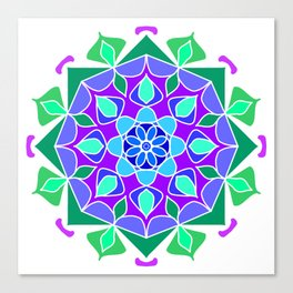 Mandala in blue and green colors Canvas Print