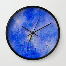 The Teapot Village - Blue Japanese Lighthouse Village Artwork Wall Clock