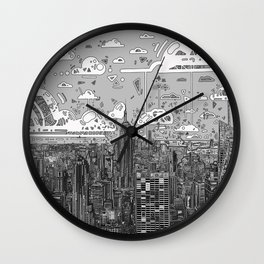 new york city skyline black and white Wall Clock