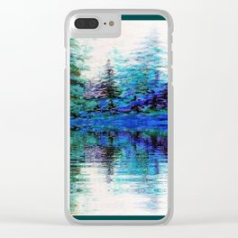 BLUE MOUNTAIN TREES & LAKE REFLECTION Clear iPhone Case