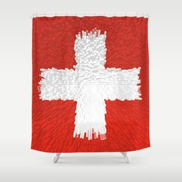Extruded flag of Switzerland Shower Curtain