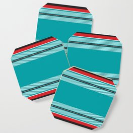 Geometric Pattern 202 (red and teal) Coaster