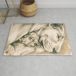 Lioness And The Cub Rug