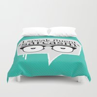 sarcasm Duvet Covers featuring Sarcasm by Daniac Design