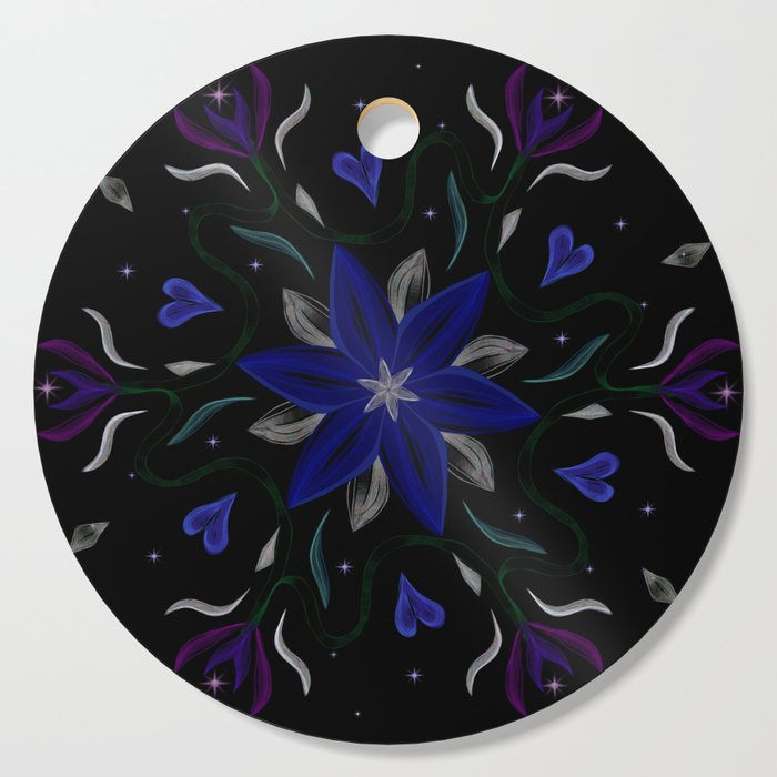 Blue Starflower Cutting Board