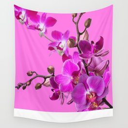 Decorative Purple Orchid Flower Sprays On Fuchsia Pink  Color Wall Tapestry