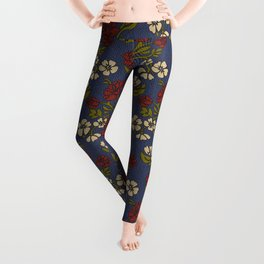 Vintage style victorian floral upholstery fabric Leggings