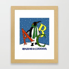 Penguin with ABC Letters: Reading is Cool, Kid's Room, Nursery Art Framed Art Print