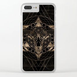 Ram in Sacred Geometry Composition - Black and Gold Clear iPhone Case