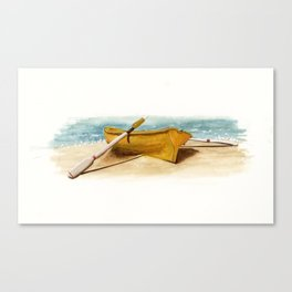 Shore Time, rowboat, boat, seashore, beach Canvas Print