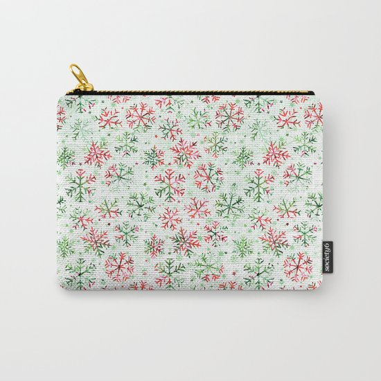 Red Green Snowflakes Carry-All Pouch