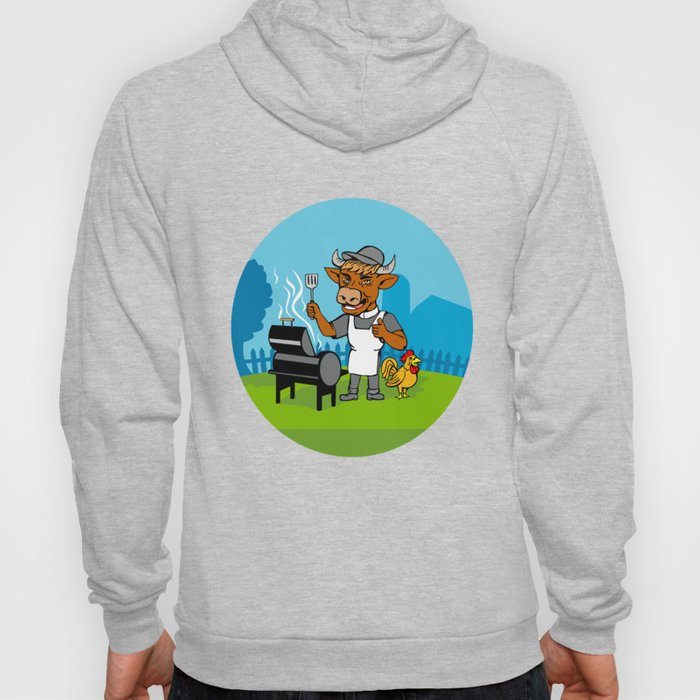 Clergy Cow Minister Barbecue Chef Rooster Caricature Hoody